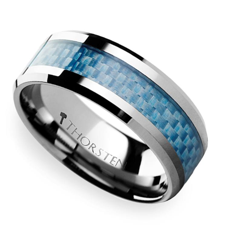 Tungsten Carbide Ring With Blue Carbon Fiber Inlay (8mm) | 01