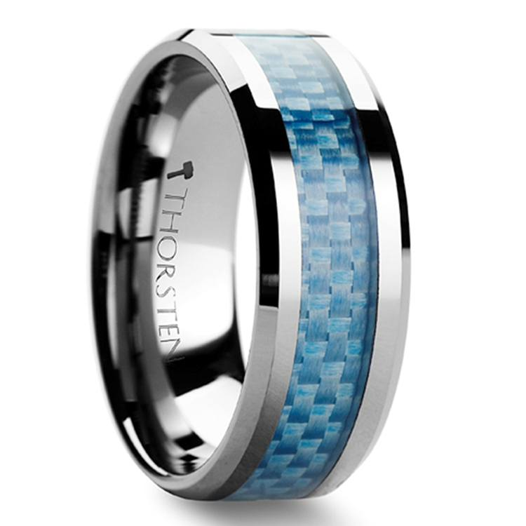 Tungsten Carbide Ring With Blue Carbon Fiber Inlay (8mm) | 02