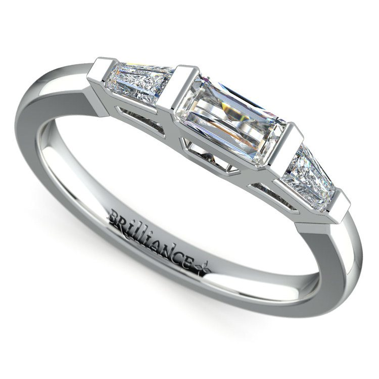 Baguette Diamond Wedding Ring in White Gold 12 ctw