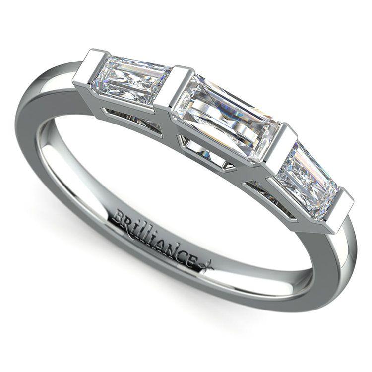 Baguette Diamond Wedding Ring in White Gold (3/5 ctw)   01