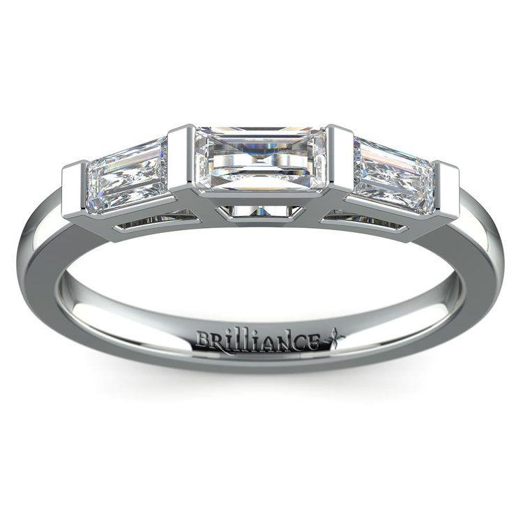 Baguette Diamond Wedding Ring in White Gold (3/5 ctw)   02