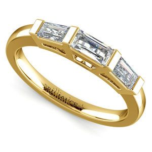 Baguette Diamond Wedding Ring in Yellow Gold (3/5 ctw)