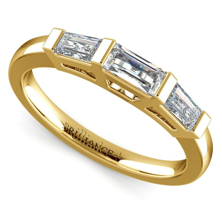 Baguette Diamond Wedding Ring in Yellow Gold (3/5 ctw) | 01