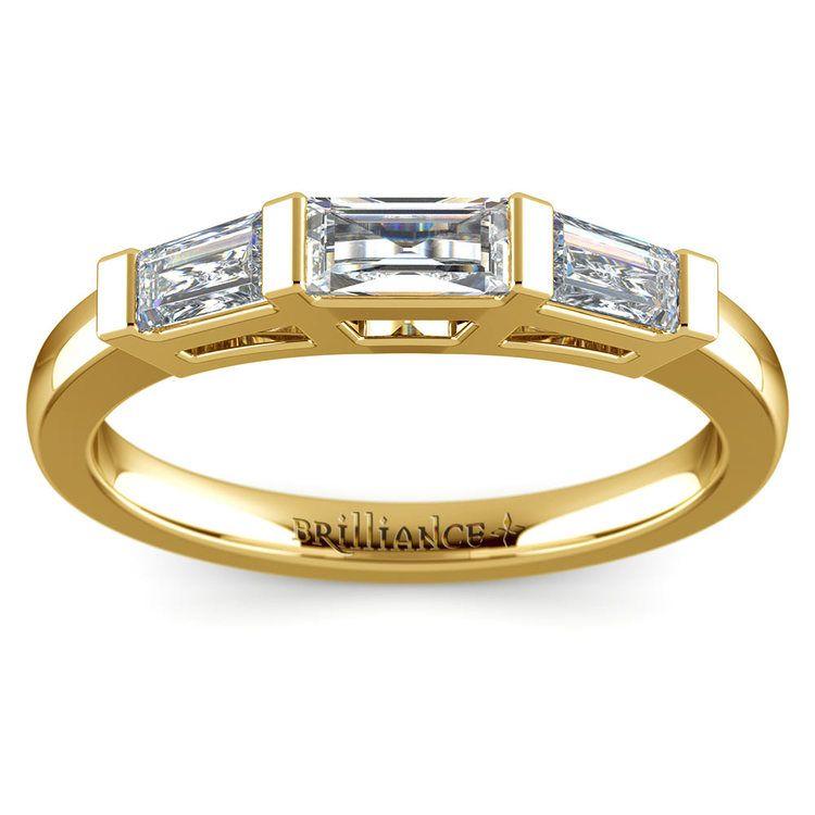 Baguette Diamond Wedding Ring in Yellow Gold (3/5 ctw) | 02