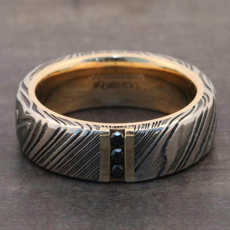 Banana Split - Damascus Mens Band with Black Diamonds | 05