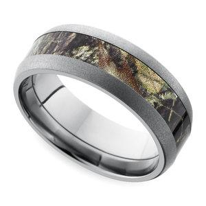 beadblast domed camouflage inlay mens wedding ring in titanium - Mens Camo Wedding Ring
