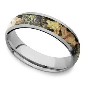 Beadblast Domed Camouflage Inlay Men's Wedding Ring in Titanium