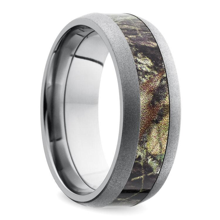 Beadblast Domed Camouflage Inlay Men's Wedding Ring in Titanium | 02