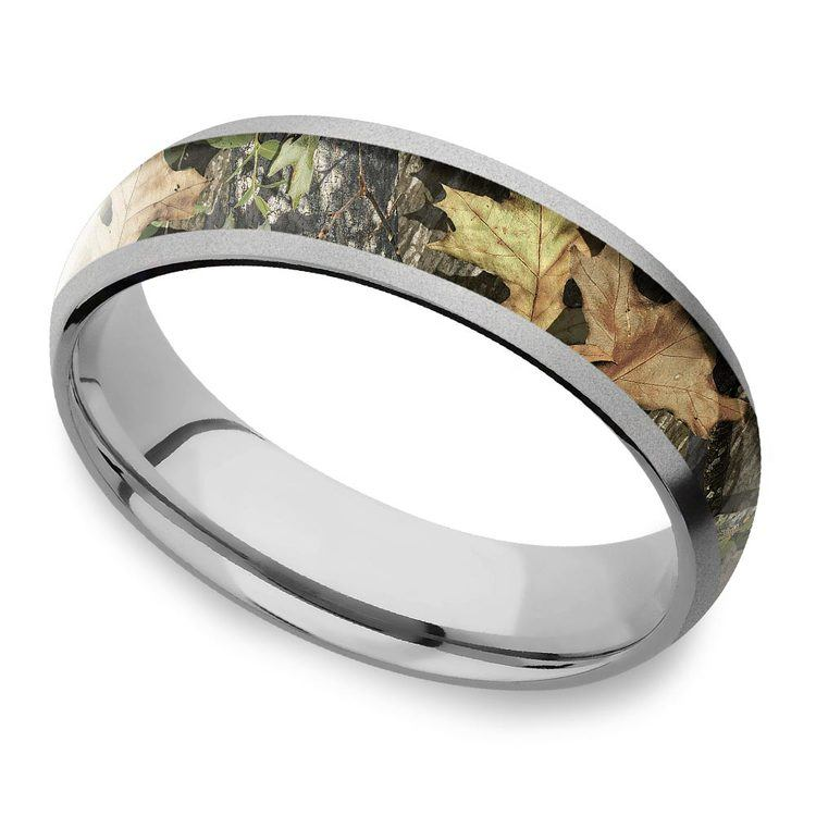 Beadblast Domed Camouflage Inlay Men's Wedding Ring in Titanium | 01
