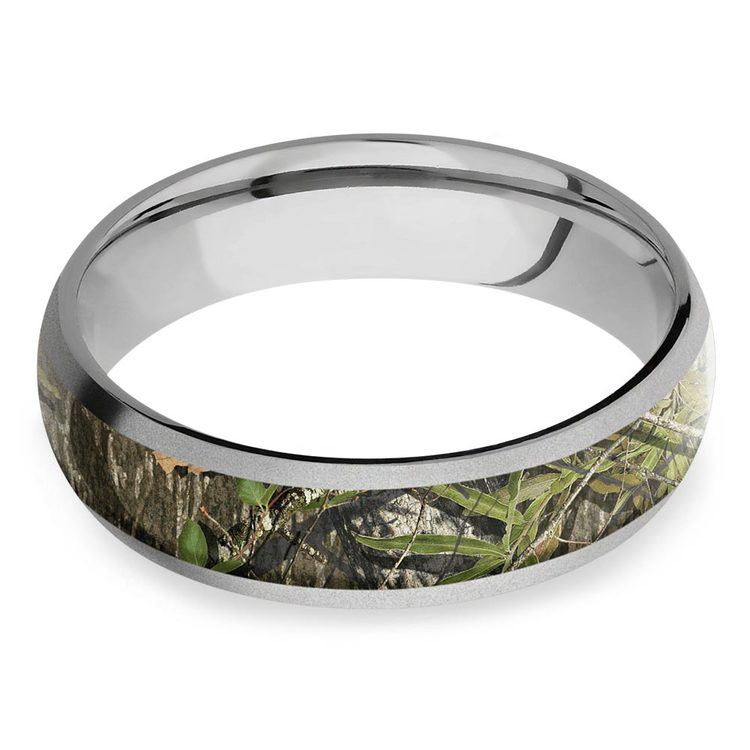 Beadblast Domed Camouflage Inlay Men's Wedding Ring in Titanium | 03