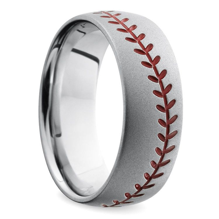 Beadblasted Baseball Pattern Men's Wedding Ring in Cobalt | 02