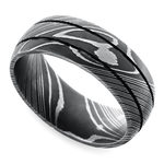Beadblasted Grooved Men's Wedding Ring in Damascus Steel | Thumbnail 01