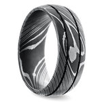 Beadblasted Grooved Men's Wedding Ring in Damascus Steel | Thumbnail 02