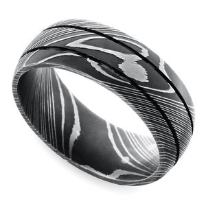 Beadblasted Grooved Men's Wedding Ring in Damascus Steel