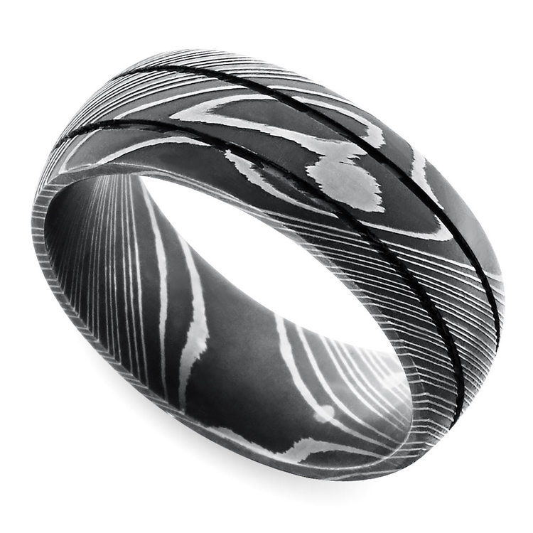 Beadblasted Grooved Men's Wedding Ring in Damascus Steel | 01