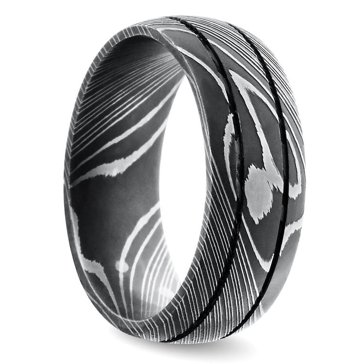 Beadblasted Grooved Men's Wedding Ring in Damascus Steel | 02