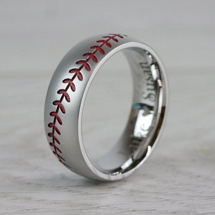Beadblasted Mens Baseball Wedding Ring in Cobalt | 03