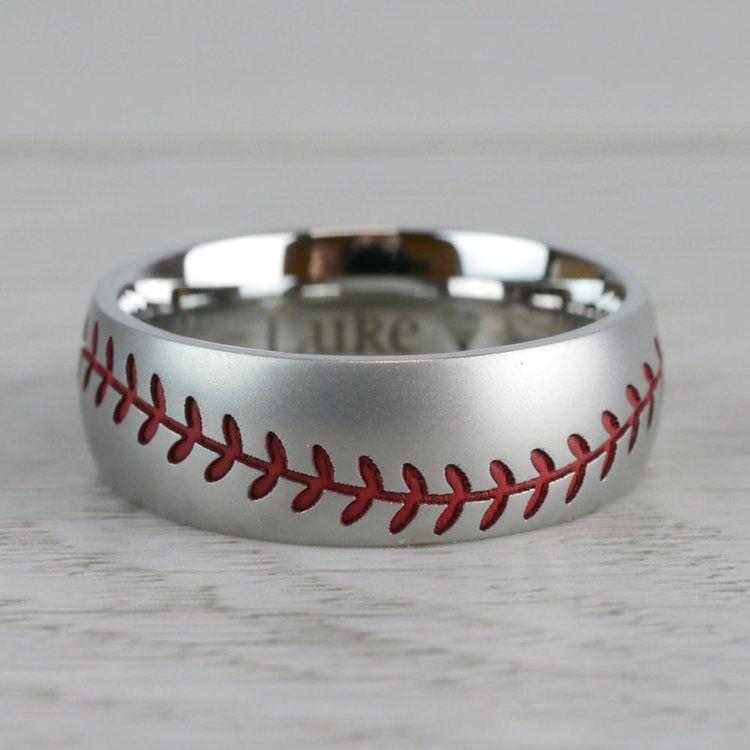 Beadblasted Mens Baseball Wedding Ring in Cobalt | 04
