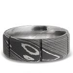 Bevel Segment Men's Wedding Ring in Damascus Steel | Thumbnail 03
