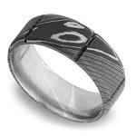Bevel Segment Men's Wedding Ring in Damascus Steel | Thumbnail 01