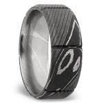 Bevel Segment Men's Wedding Ring in Damascus Steel | Thumbnail 02