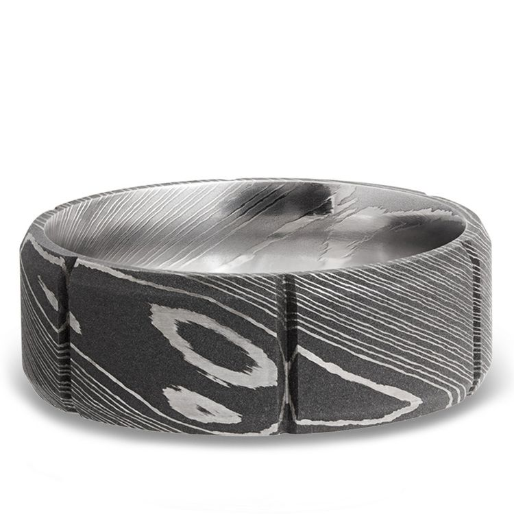 Bevel Segment Men's Wedding Ring in Damascus Steel | 03