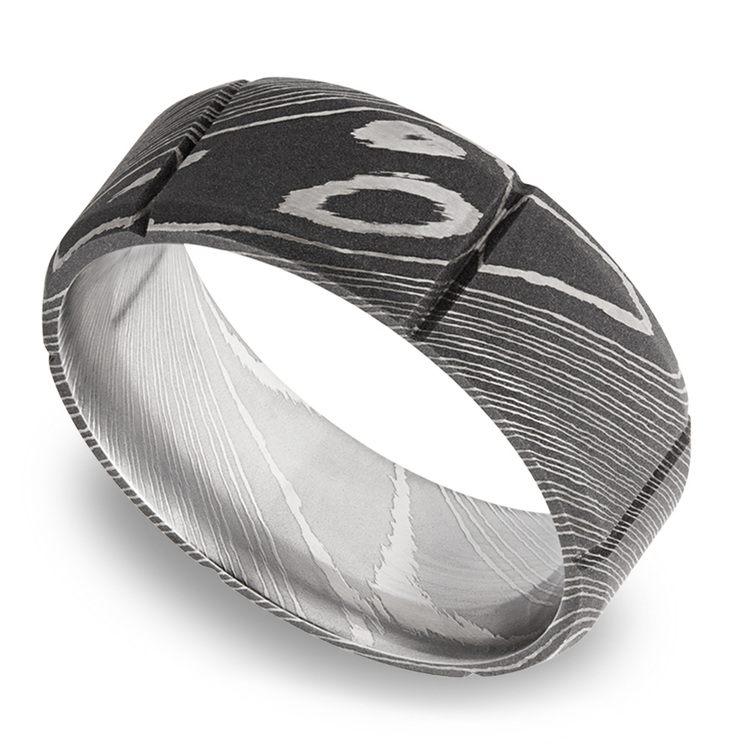 Bevel Segment Men's Wedding Ring in Damascus Steel | 01