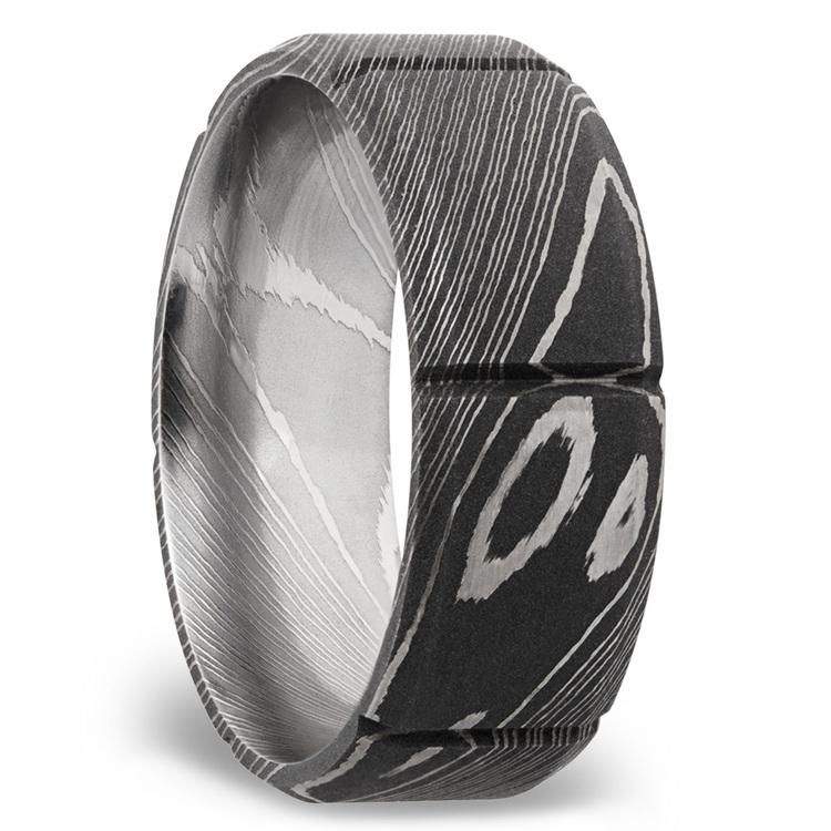 Bevel Segment Men's Wedding Ring in Damascus Steel | 02