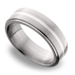 Stepped Edges Sterling Silver Inlay Men's Wedding Ring in Titanium | Thumbnail 01