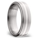 Stepped Edges Sterling Silver Inlay Men's Wedding Ring in Titanium | Thumbnail 02