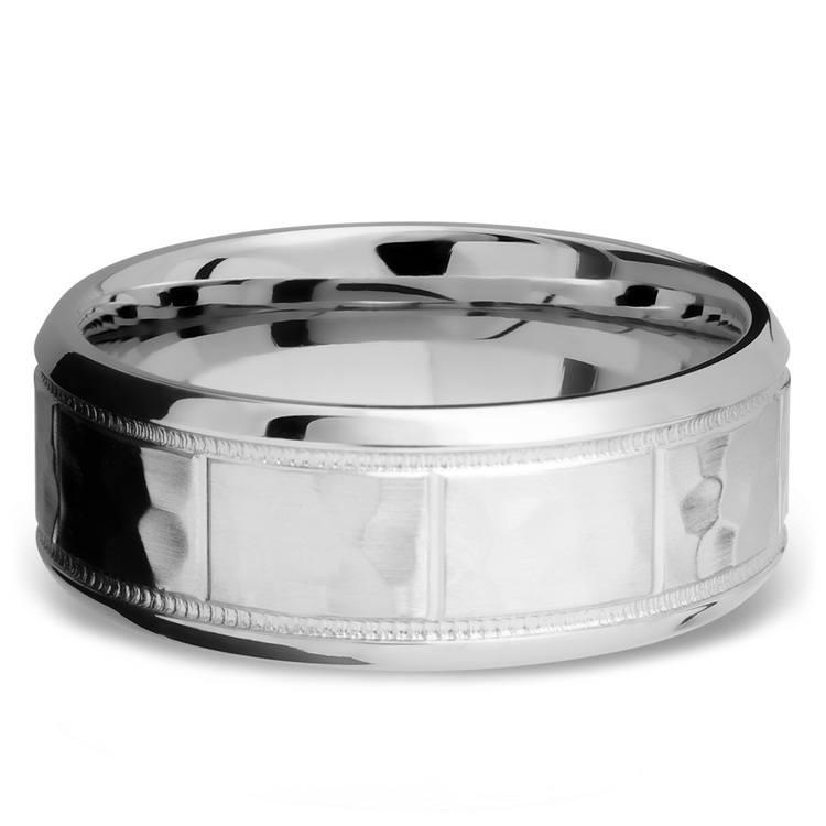 Bevel Segment Men's Wedding Ring with Milgrain Detail in Titanium | 03