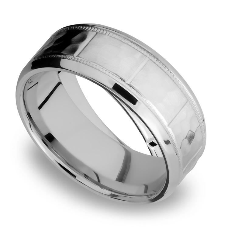 Bevel Segment Men's Wedding Ring with Milgrain Detail in Titanium | 01