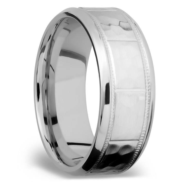 Bevel Segment Men's Wedding Ring with Milgrain Detail in Titanium | 02