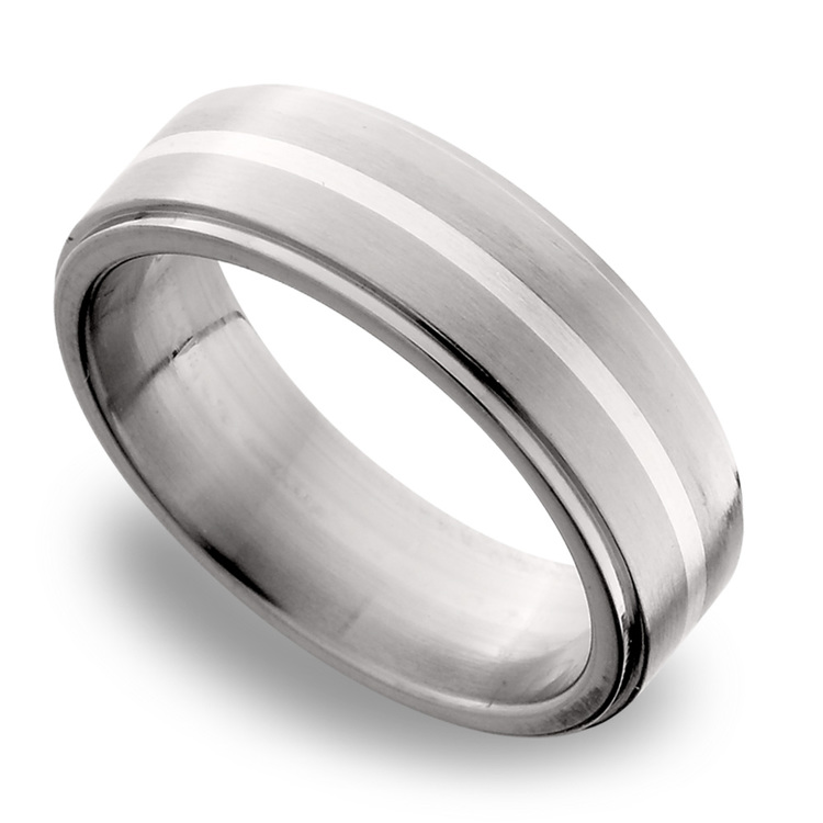 Stepped Edges Sterling Silver Inlay Men's Wedding Ring in Titanium | 01