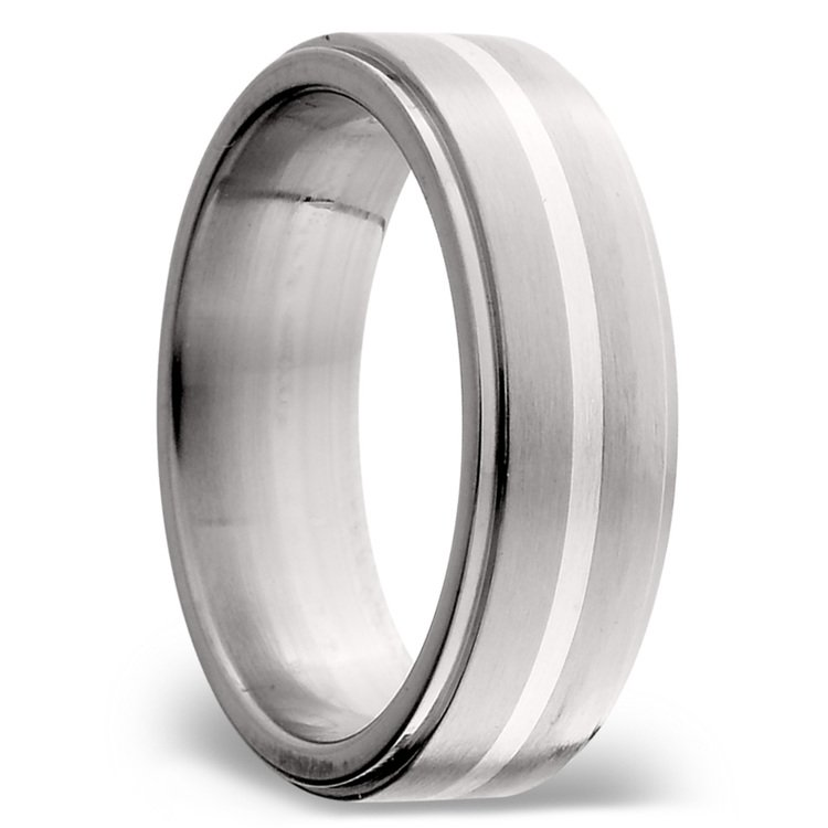 Stepped Edges Sterling Silver Inlay Men's Wedding Ring in Titanium | 02