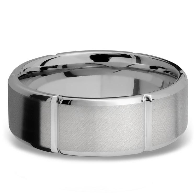 Bevel Segment Men's Wedding Ring in Titanium (8mm)   03