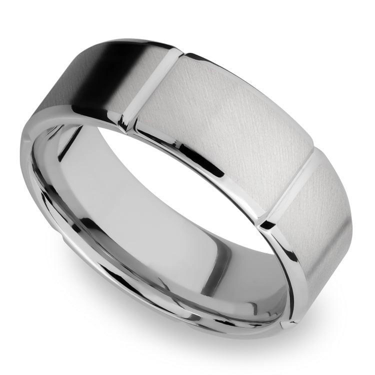 Bevel Segment Men's Wedding Ring in Titanium (8mm)   01