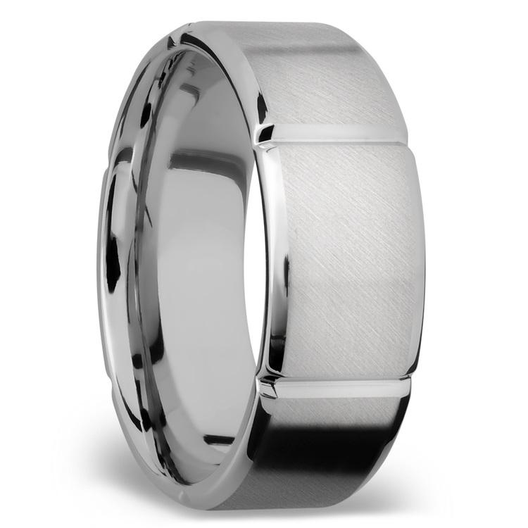 Bevel Segment Men's Wedding Ring in Titanium (8mm)   02