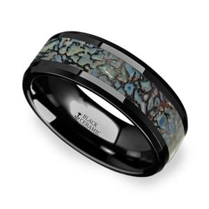 Beveled Blue Dinosaur Bone Inlay Men's Wedding Ring in Black Ceramic