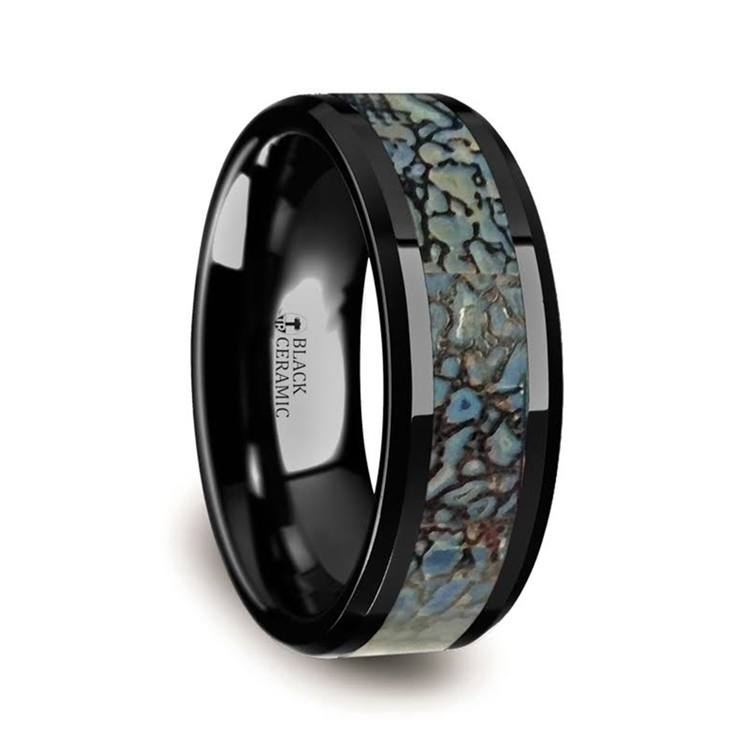 Beveled Blue Dinosaur Bone Inlay Men's Wedding Ring in Black Ceramic | 02