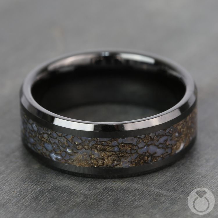 Beveled Blue Dinosaur Bone Inlay Men's Wedding Ring in Black Ceramic | 04