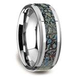Beveled Blue Dinosaur Bone Inlay Men's Wedding Ring in Tungsten | Thumbnail 02