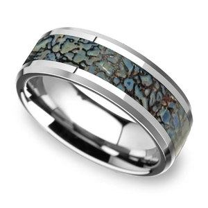 Beveled Blue Dinosaur Bone Inlay Men's Wedding Ring in Tungsten