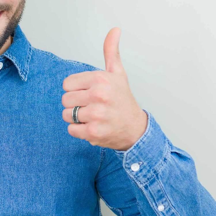 Beveled Blue Dinosaur Bone Inlay Men's Wedding Ring in Tungsten | 05