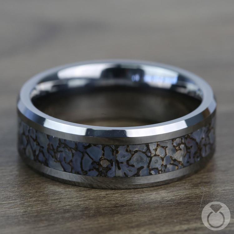 Beveled Blue Dinosaur Bone Inlay Men's Wedding Ring in Tungsten   04