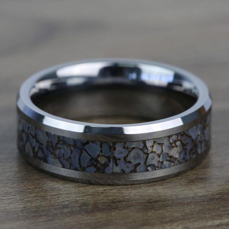 Beveled Blue Dinosaur Bone Inlay Men's Wedding Ring in Tungsten | 04