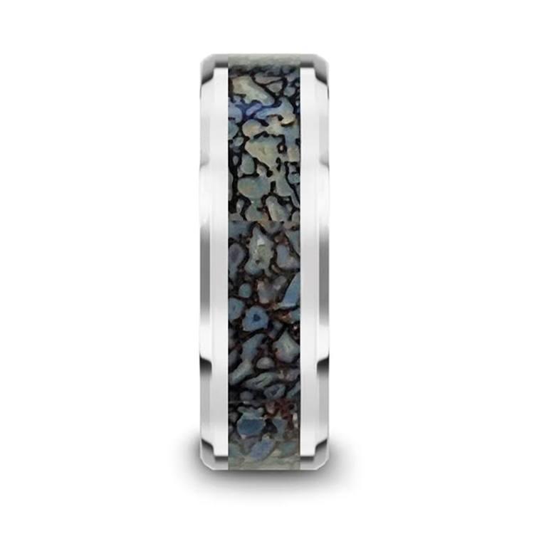 Beveled Blue Dinosaur Bone Inlay Men's Wedding Ring in Tungsten | 03