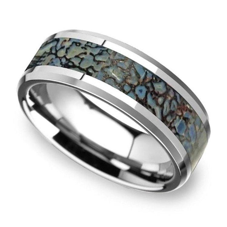Beveled Blue Dinosaur Bone Inlay Men's Wedding Ring in Tungsten | 01