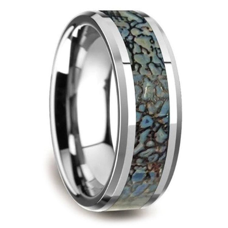 Beveled Blue Dinosaur Bone Inlay Men's Wedding Ring in Tungsten | 02