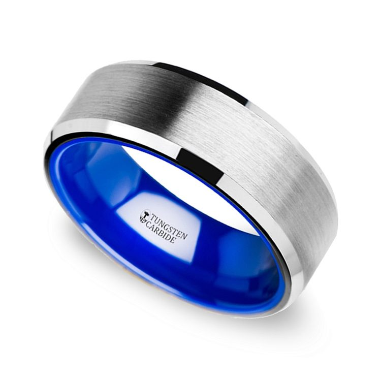 Mens Tungsten Wedding Ring with Blue Ceramic
